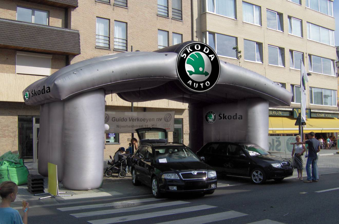 Giant inflatable standen Skoda, kraam, stalletje, stand, tent, verkooptent X-Treme Creations