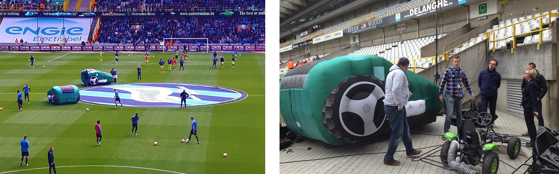 Large inflatable promotional material | X-Treme Creations Inflatable lawnmowers at the stage of RSC Anderlecht Bosch Da Vinci Events X-Treme Creations