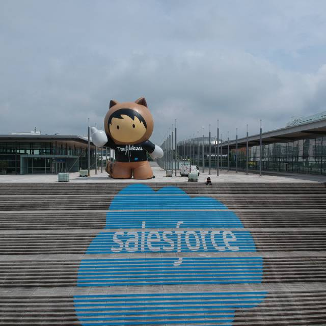 The Salesforce  Giant inflatables A gigantic inflatable during the Cebit fair with the Salesforce logo X-Treme Creations