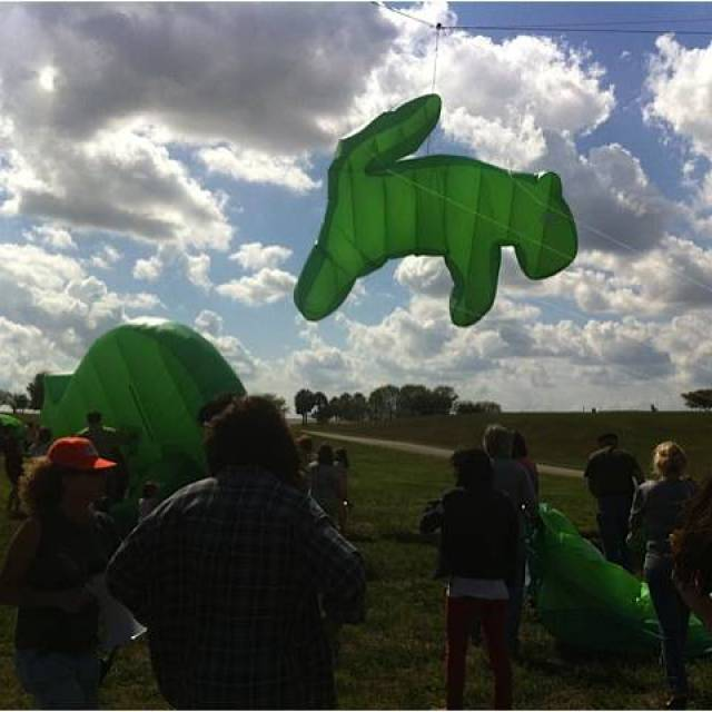 Mobistar animal kites Giant inflatables Inflatable green kites are launched in a field X-Treme Creations