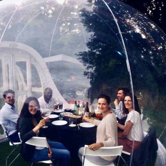 The transparent eyecatcher for your event! Inflatable bubble transformed into friends bubble X-Treme Creations
