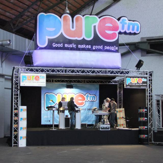 Giant inflatable logos PUREfm, company logo, brand logo, inflatable logo X-Treme Creations