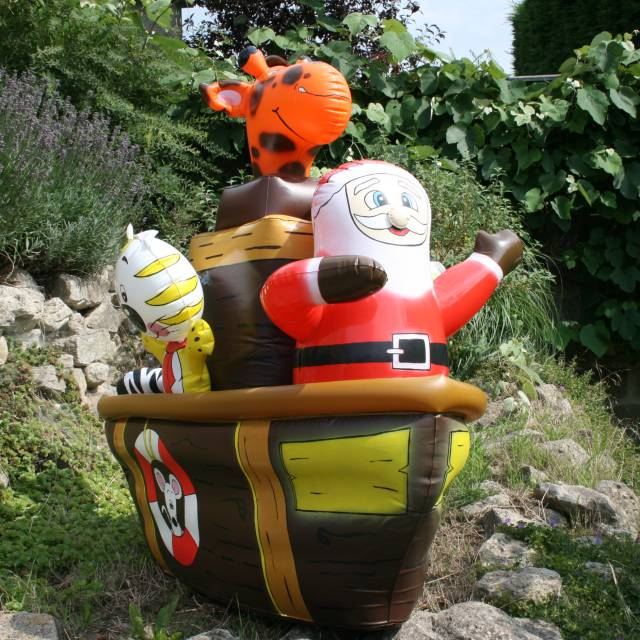 Miniature airtight inflatable boat Airtight miniature inflatables Inflatable miniature boat with Santa Claus and tiger X-Treme Creations