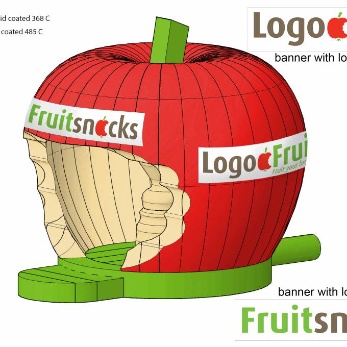 Large inflatable promotional material | X-Treme Creations Visual drawing apple-shaped bouncy castle Events  & Fairs  & Corporate branding  & Brand activation  &  Fruitsnacks X-Treme Creations