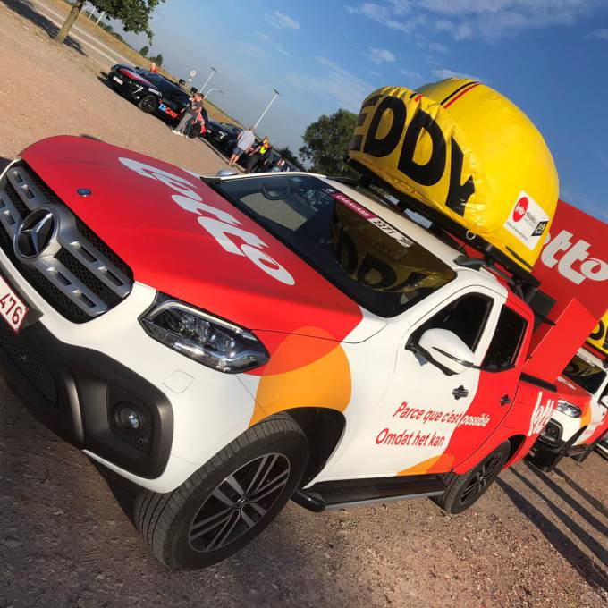 Large inflatable promotional material | X-Treme Creations Inflatable cab on Mercedes X-class Events  & Festivals  & Corporate branding  & Brand activation  & Promotion and gadgets  &  Lotto E-Demonstrations X-Treme Creations
