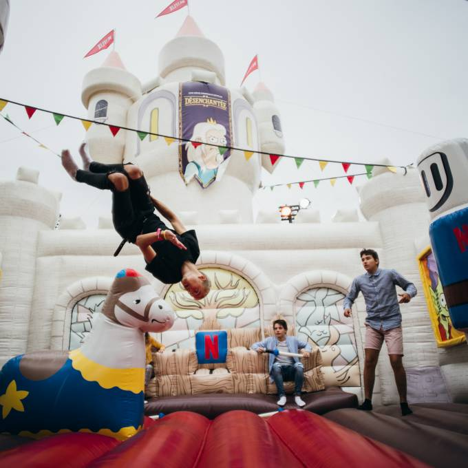 Large inflatable promotional material | X-Treme Creations Inside of the castle with jumping people Events  & POS/POP  & Festivals  & Brand activation  &  Netflix MNSTR X-Treme Creations
