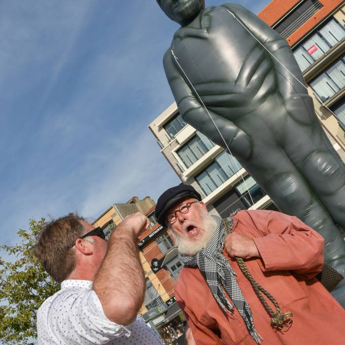 Large inflatable promotional material | X-Treme Creations Inflatable statue of the icelandic fisherman Petrus Decreton, born in 1853, popularly known as Pierre Kloeffe Events  & Festivals  & Art and Design  &  X-Treme Creations