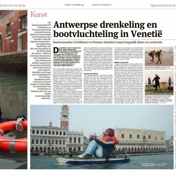 Large inflatable promotional material | X-Treme Creations Newspaper article in the Gazet of Antwerp about the gigantic inflatable refugee Art and Design Artists Schellekens & Peleman, coordination by  Anouk Focquier X-Treme Creations