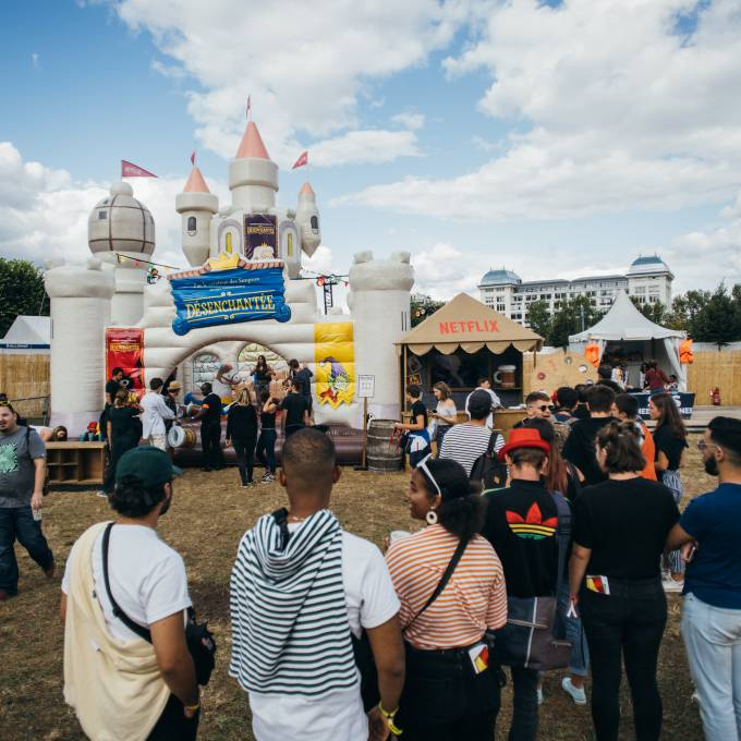 Large inflatable promotional material | X-Treme Creations Large inflatable bouncy castle that looks like a real castle with towers Events  & POS/POP  & Festivals  & Brand activation  &  Netflix MNSTR X-Treme Creations