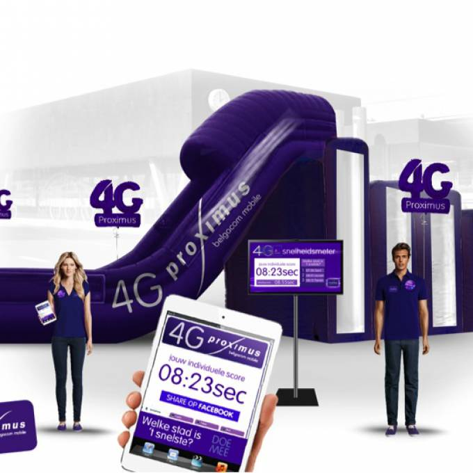 Large inflatable promotional material | X-Treme Creations Visual of the promo action of Proximus with a purple inflatable slide Events  & Corporate branding  & Brand activation  &  Proximus Demonstr8 X-Treme Creations