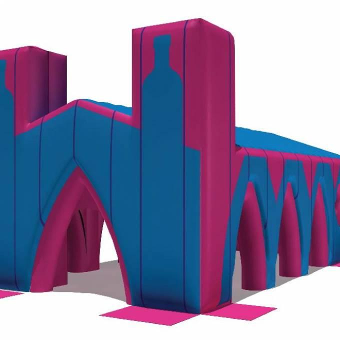 Groot opblaasbaar promotiemateriaal | X-Treme Creations Render van de Kathedraal in design stage Events  & Festivals  & Merkactivatie  &  Elrow Beanstalk for Absolut X-Treme Creations