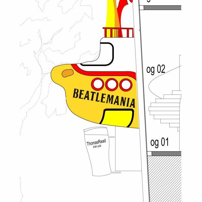 Groot opblaasbaar promotiemateriaal | X-Treme Creations Visuele tekening van opblaasbare duikboot tussen 2 gebouwen met opschrift 'Beatlemania' Kunst en design Beatlemania Museum Hamburg Bureau NHP partnership & customer FKP Scorpio X-Treme Creations