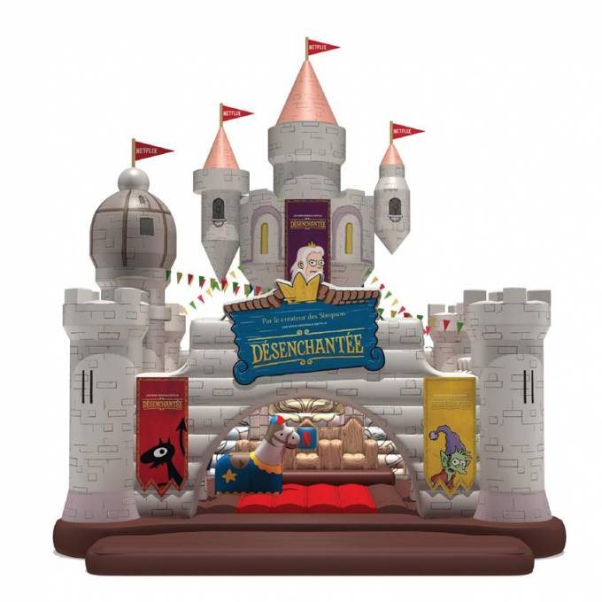 Large inflatable promotional material | X-Treme Creations Prototype drawing of the bouncy castle with towers and other attributes Events  & POS/POP  & Festivals  & Brand activation  &  Netflix MNSTR X-Treme Creations