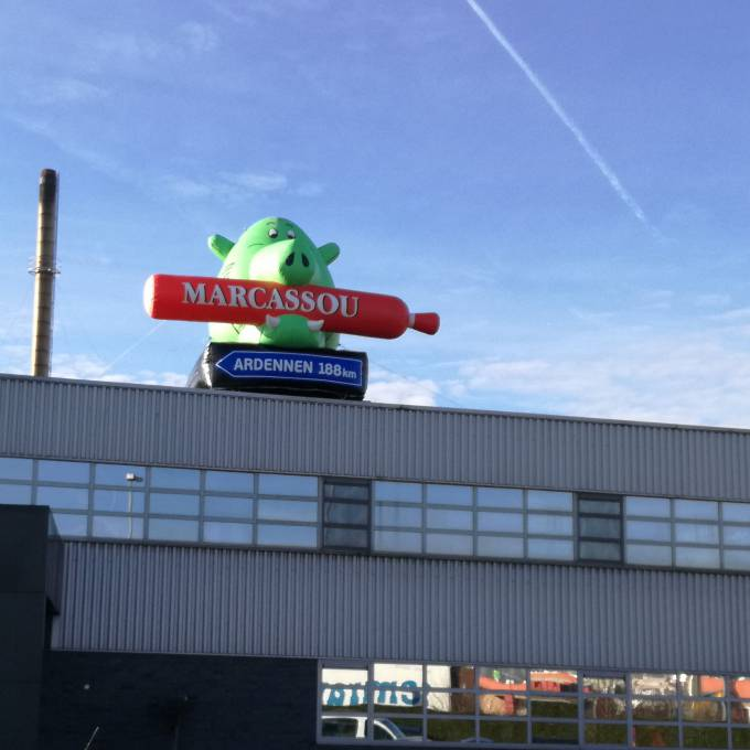 Large inflatable promotional material | X-Treme Creations A giant inflatable Marcassou pig on the roof of their meat factory in Ghent Corporate branding  & Brand activation  &  Imperial Meat Products (Part of Campofrio Food Group) X-Treme Creations